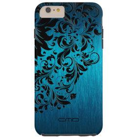 Metallic Turquoise Brushed Aluminum Black Lace 2 Tough iPhone 6 Plus Case