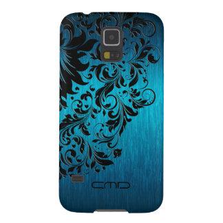 Metallic Turquoise Brushed Aluminum Black Lace 2 Galaxy S5 Case