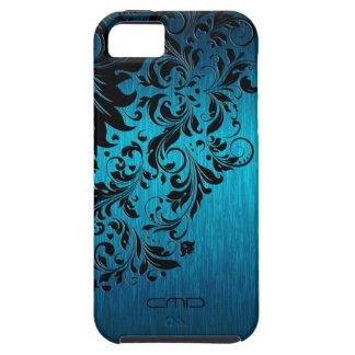 Metallic Turquoise Brushed Aluminum Black Lace 2 iPhone SE/5/5s Case