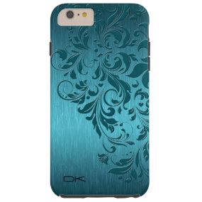 Metallic Turquoise Brushed Aluminum & Floral Lace Tough iPhone 6 Plus Case