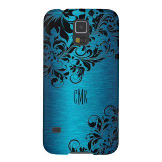 Metallic Turquoise With Black Floral Swirls Galaxy S5 Case