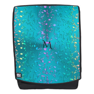 Metallic Turquoise with Colorful Music notes Backpack