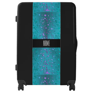 Metallic Turquoise with Colorful Music notes Luggage