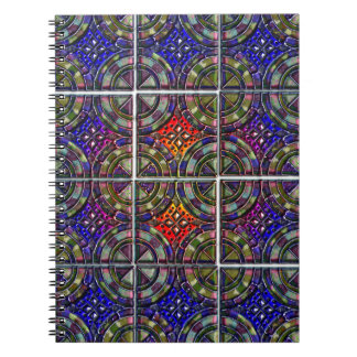 Metallic Twelve part pattern tile design Spiral Notebooks