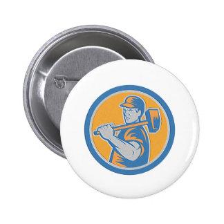 Metallic Union Worker Holding Sledgehammer Circle Button