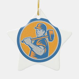 Metallic Union Worker Holding Sledgehammer Circle Christmas Ornament