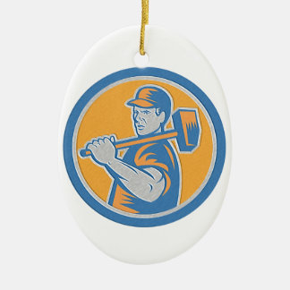 Metallic Union Worker Holding Sledgehammer Circle Ornaments
