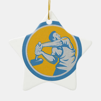 Metallic Union Worker Strike With Sledgehammer Ret Christmas Tree Ornaments