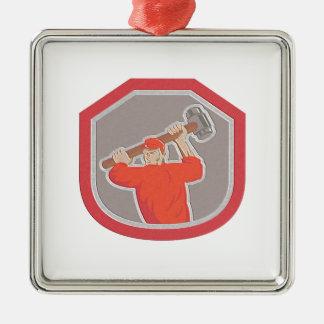 Metallic Union Worker Striking Smashhammer Shield Christmas Tree Ornaments