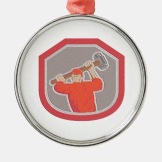 Metallic Union Worker Striking Smashhammer Shield Ornament
