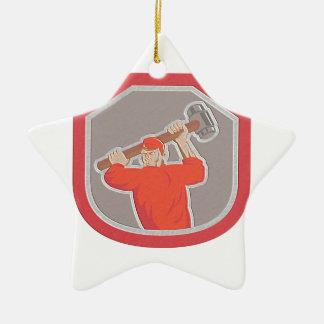 Metallic Union Worker Striking Smashhammer Shield Christmas Ornaments