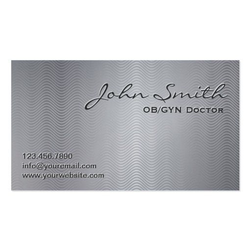 Metallic Wave Patterns OB/GYN Business Card