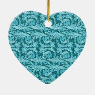 Metallic Waves, 2 Tone Teal Lt-Heart Ornament