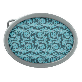Metallic Waves 2Tone Teal Drk BUCKLE Oval Belt Buckle