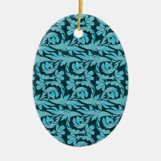 Metallic Waves 2Tone Teal Drk OVAL ORNAMENTS