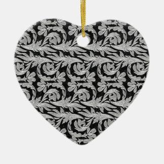 Metallic Waves, Black-White Heart Ornament Ceramic Heart Ornament