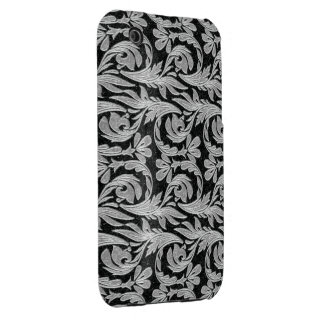 Metallic Waves, Black-White-iPhone 3g Case iPhone 3 Cover