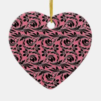 Metallic Waves, Lt Pink-Black-Heart Ornament