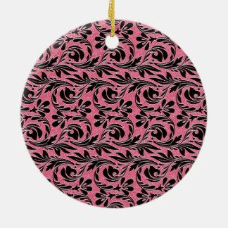 Metallic Waves, Lt Pink-Black-Round Ornament