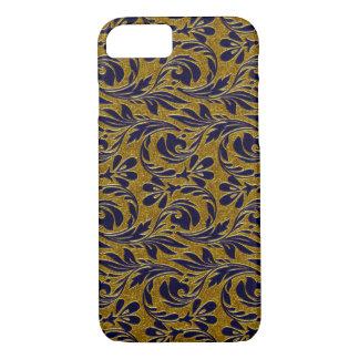 Metallic Waves, Navy-Gold-iPhone 7 Case