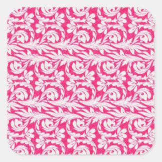 Metallic Waves Pink-White Square Sticker