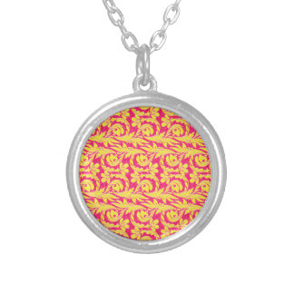 Metallic Waves Pink-Yellow Silver Plated Necklace
