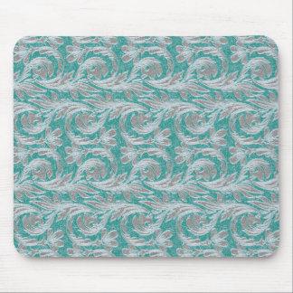 Metallic Waves, Seafoam-White MOUSEPAD