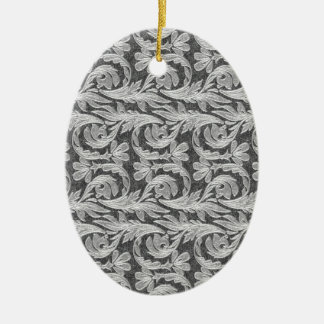 Metallic Waves, Silver-White OVAL ORNAMENT