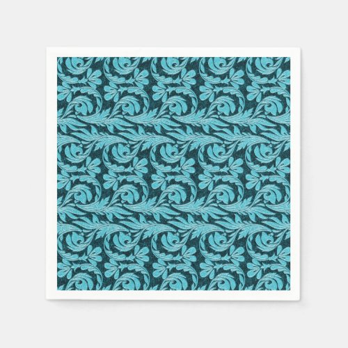 Metallic Waves-Two Toned Teal-PAPER PARTY NAPKINS