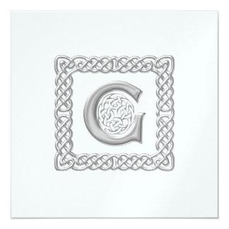 Metallic Wedding Invitation Celtic Monogram G
