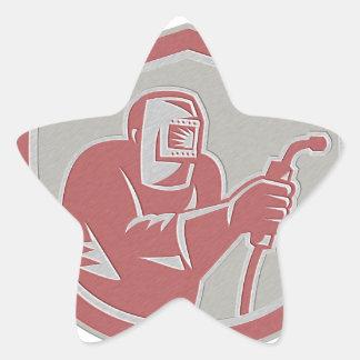 Metallic Welder Worker Holding Welding Torch Shiel Star Stickers