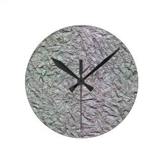 Metallic Wrinkled Paper Texture Round Clock
