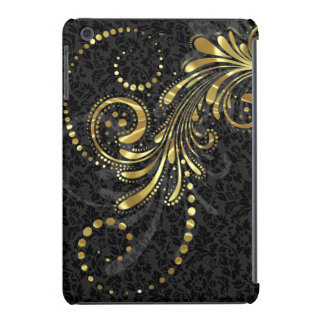 Metallic Yellow Gold Floral Swirl On Black Damasks iPad Mini Cover