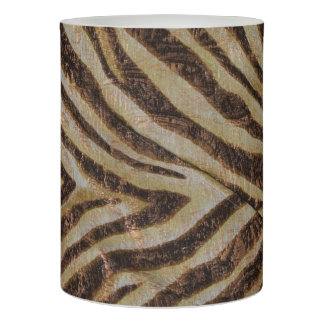Metallic Zebra Stripes Bronze Gold Beige Flameless Candle