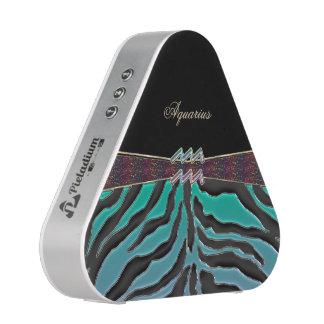 Metallic Zebra Zodiac Sign Aquarius Bluetooth Speaker