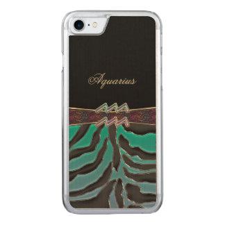 Metallic Zebra Zodiac Sign Aquarius Carved iPhone 7 Case