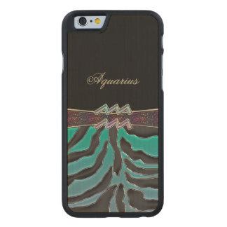 Metallic Zebra Zodiac Sign Aquarius Carved Maple iPhone 6 Slim Case