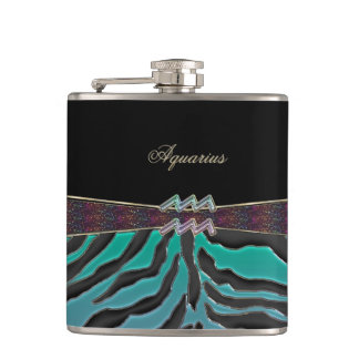 Metallic Zebra Zodiac Sign Aquarius Hip Flask