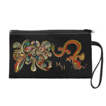 Metallized Ornate Chinese Dragon Art Wristlet Purse