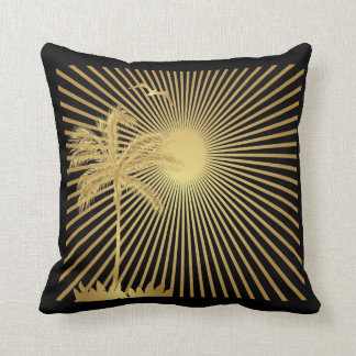 Metalllic Gold Palm Tree, Sun and Bird Pillow