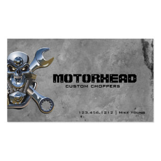 Metalwork Skull and Wrench Business Cards