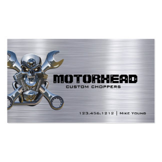 Metalwork Skull and Wrench on Brushed Aluminum Double-Sided Standard Business Cards (Pack Of 100)