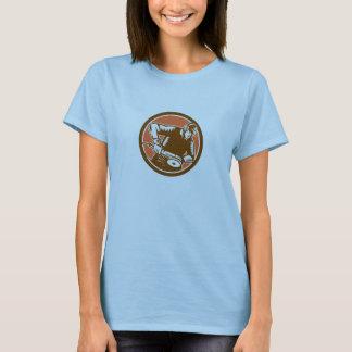 Metalworker Operating Grinder Woodcut Circle Retro T-Shirt