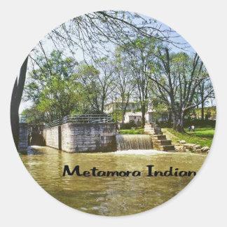 Metamora Indiana Pegatina Redonda
