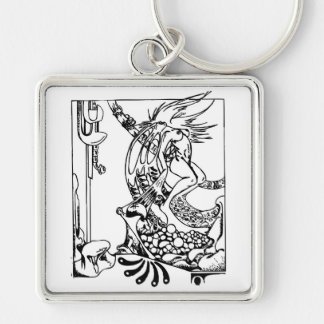 Metamorphis Silver-Colored Square Keychain