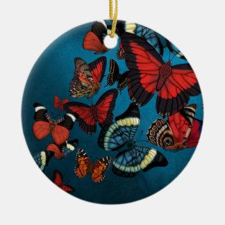 Metamorphosis Blue Butterflies Ceramic Ornament