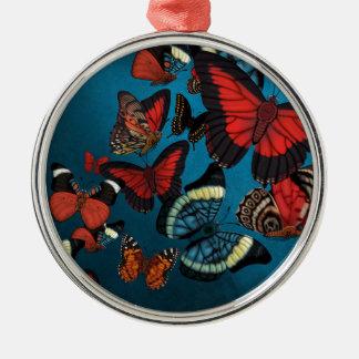 Metamorphosis Blue Butterflies Metal Ornament