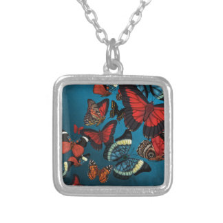 Metamorphosis Blue Butterflies Silver Plated Necklace