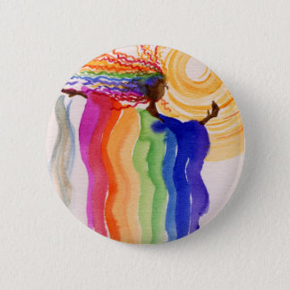 Metamorphosis Rainbow Woman Watercolor Painting Button