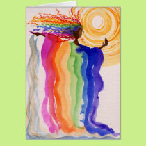Metamorphosis Rainbow Woman Watercolor Painting Card